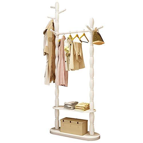 POETRY Coat stand coat hanger massief hout imitatie lak slaapkamer vloer opknoping kleding rek plank schoenen plank A ++ (kleur: wit grootte: 2-laags)