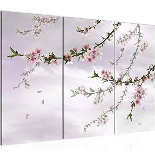Runa Art Sakura Flores Cuadro Murales Sala XXL Rosa Flores De Cerezo Japón 120 x 80 cm 3 Piezas Decoración de Pared 020031c