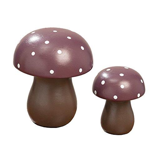 Boltze 2tlg. Fliegenpilz Heidi Beere violett Bordeaux Pilz Set Herbstdekoration (gr+kl)