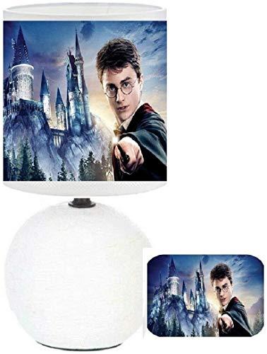 Lampe de chevet H-Potter et le chateau de Poublard. Personnalisé avec le prénom.