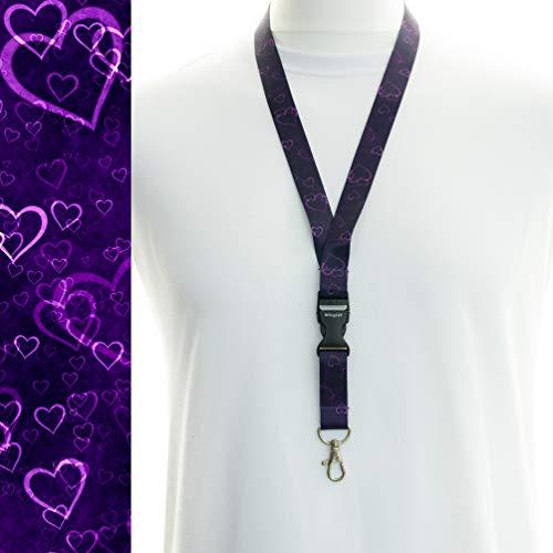 Mehrfarbig Schlüsselband Umhängeband Trageband mit Sicherheitsverschluss und Schwenk Karabinerhaken(1 violette Herzen)
