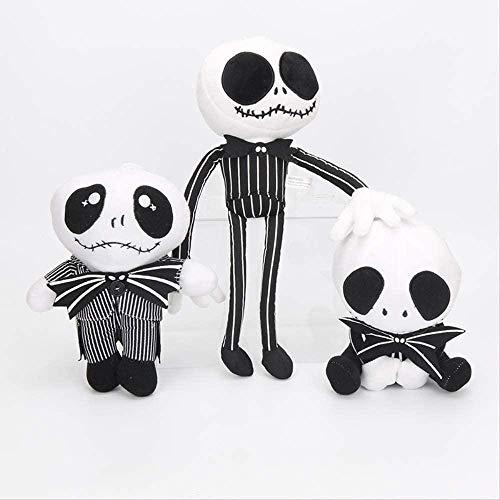 Kshong 3 Piezas 20-35 Cm la Pesadilla Antes de Navidad Jack Skellington Sally Esqueleto Negro Calavera de Peluche de Juguete muñeca de Peluche Juguetes