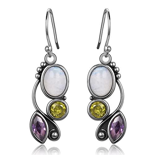 XIAOLONG Pendientes de Gota de Piedra Lunar de Boda de Plata de Ley 925 para Mujer, Pendiente de joyería Fina, Regalos de Compromiso para Fiesta de niña
