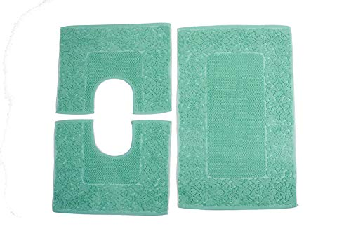 HomeIt - Set Tappeti Bagno 3 Pezzi in Cotone - Elegante Parure tappetini in Spugna: 1 Tappeto 60X90 2 Girowater/Girobidet - Lavabile Lavatrice - Made in Italy (Verde)