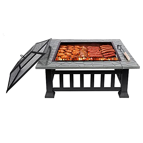Outdoor Fire Pits with BBQ Grill, Fire Pits for Garden with BBQ Table, BBQ Shelter with Ice Bucket Table, Portable Fire Pit Use for Garden Party/Outdoor Barbecue/Outdoor Heaters