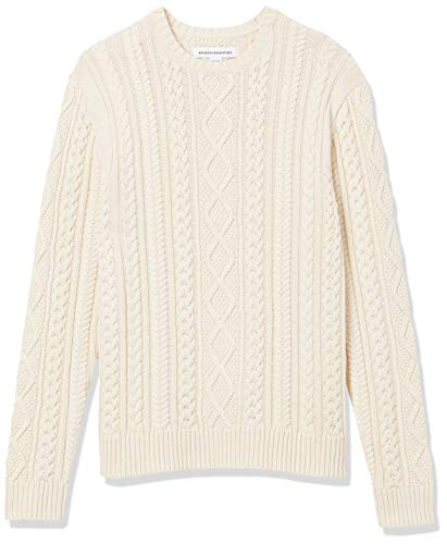 Amazon Essentials Men's Long-Sleeve 100% Cotton Fisherman Cable Crewneck Sweater, Off-White, XX-Large