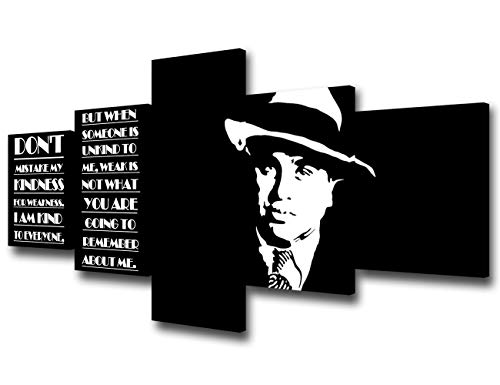 Framed Black and White Wall Art Al Capone Pictures Celebrity Quotes Paintings -5 Piece Canvas Modern Artwork Home Decor for Living Room Giclee Gallery-wrapped Stretched Ready to Hang(50''Wx24''H)