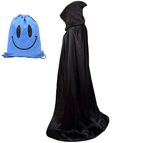 Myir Largo Capa con Capucha, Unisex Adulto Niños Disfraz de Halloween Fiesta Disfraces Vampiro Traje (XXL, Negro)