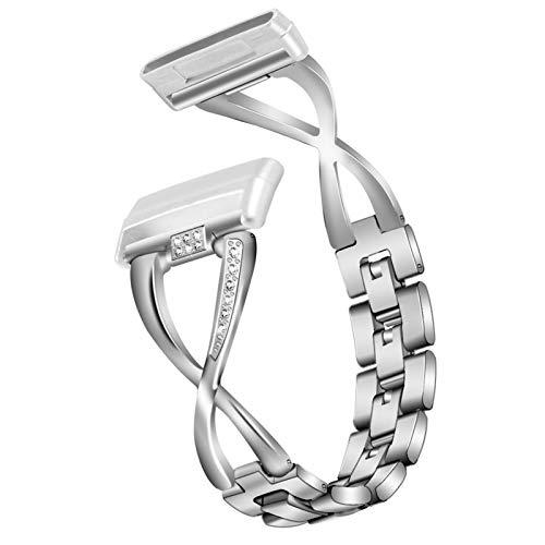 Armband für Fitbit Versa 3, Miya Verstellbares Bling Strass Uhrenarmband mit Metallschließe Damen Zubehör Ersatz Armband Kompatibel mit Fitbit Versa 3 / Fitbit Sense (Silber)