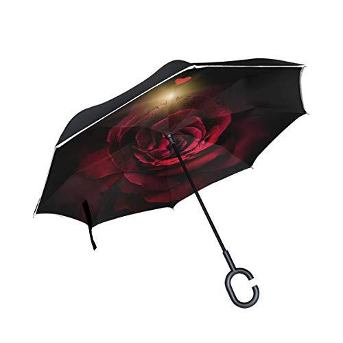 isaoa Große Schirm Regenschirm Winddicht Doppelschichtige Konstruktion seitenverkehrt Faltbarer Regenschirm für Auto Regen Außeneinsatz, C-förmigem Henkel hinhängen Love Herz rot Rosen Regenschirm