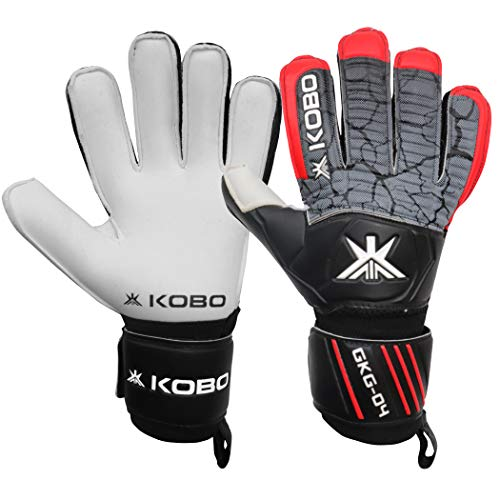 Kobo GKG-04 Football/Soccer Goalie Goal Latex Keeper Gloves, Strong Grip for The Toughest Saves, Protection, Comfort & Durable, 8.5, Without Finger Save