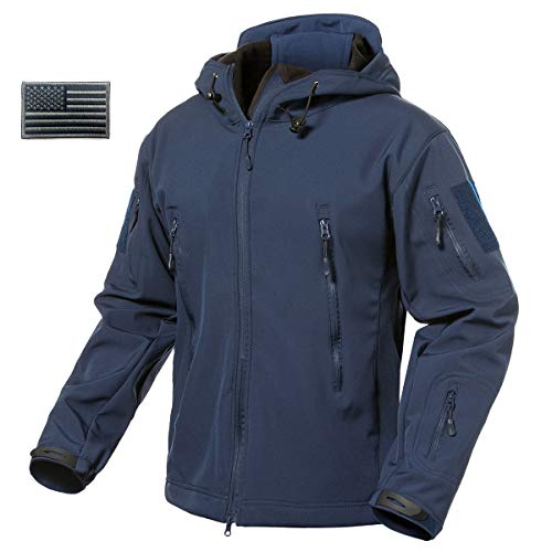 ReFire Gear Mens Army Special Ops Military Tactical Jacket Softshell Fleece Hooded Outdoor Coat,Medium,Navy Blue