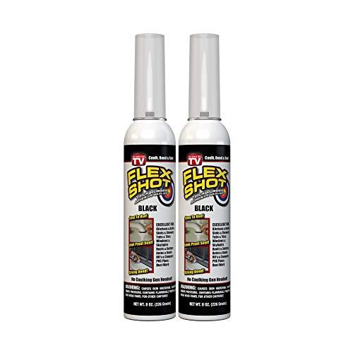 Flex Shot Rubber Adhesive Sealant Caulk, 8-oz, Black (2 Pack)