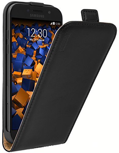 mumbi Echt Leder Flip Hülle kompatibel mit Samsung Galaxy A5 2017 Hülle Leder Tasche Hülle Wallet, schwarz