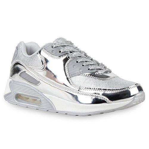 stiefelparadies Trendige Unisex Lauf Damen Herren Kinder Sport Metallic Glitzer Camouflage Sneaker Bunt Schnür Sport Schuhe 115301 Silber 36 Flandell
