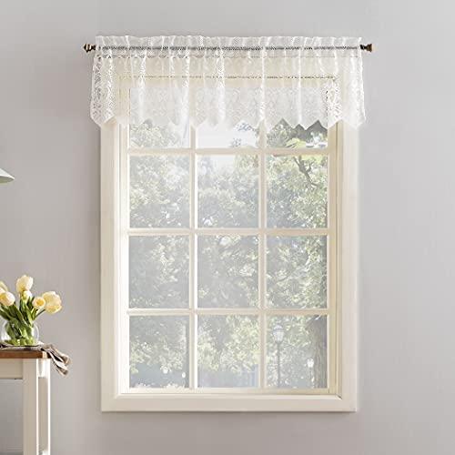 "No. 918 Joy Macrame Lace Trim Semi-Sheer Rod Pocket Kitchen Curtain Valance, 60"" x 15"", Ivory"
