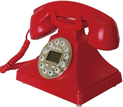 LDDZB Botón de teléfono retro marcación creativa moda oficina hogar con cable vintage retro teléfono fijo, rojo (color: rosa) (color: rojo)