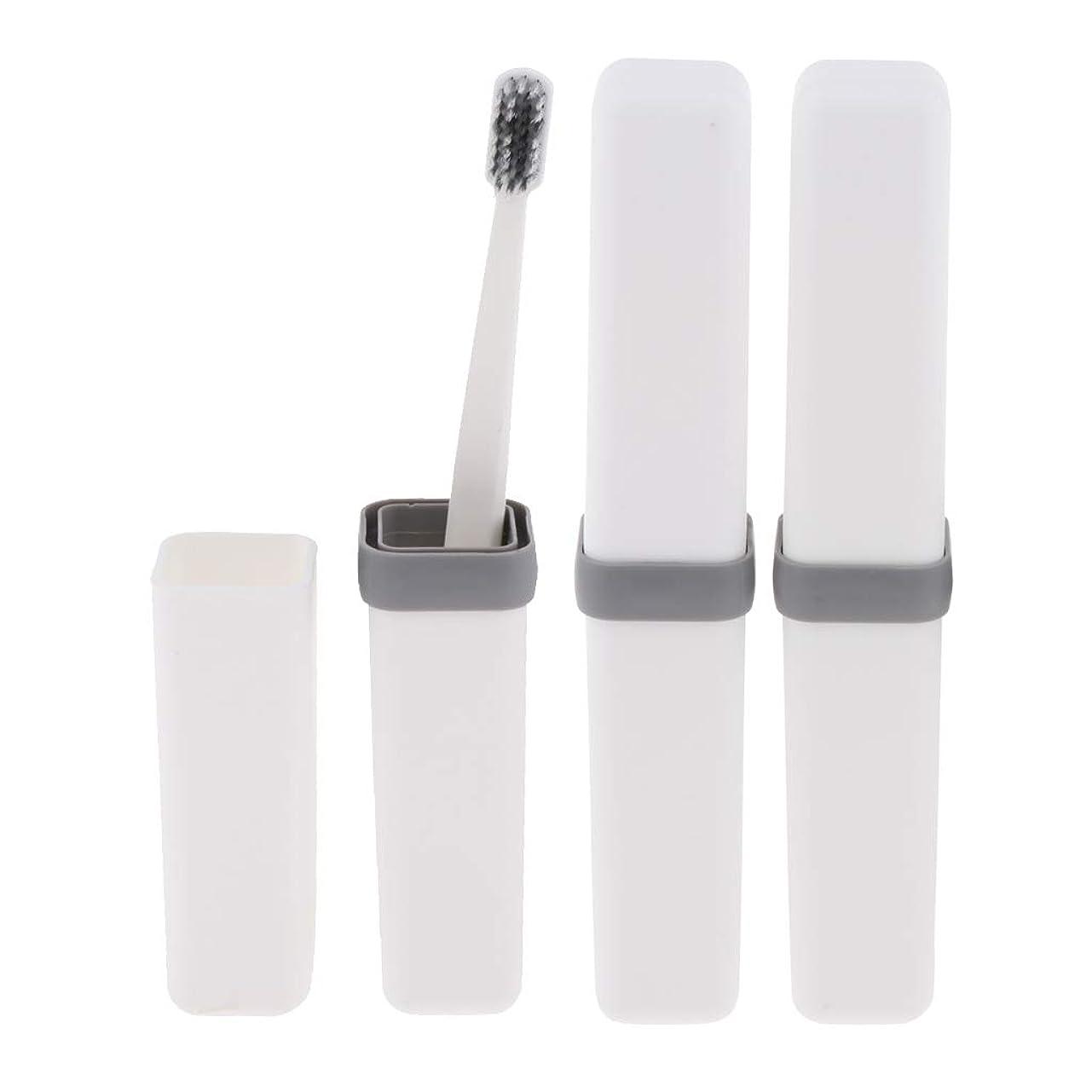 火曜日使用法クラフトFenteer 歯ブラシ 歯磨き 歯清潔 収納ボックス付 旅行 キャンプ 学校 軽量 携帯 実用的 3個 全4色 - 白