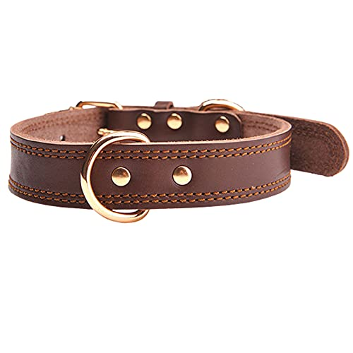 ZZCR Collar De Perro Mascota De Cuero Collar Simple Hebilla De Pasador Poroso Collar Ajustable Anti-Estrangulación Anti-Perdida Collar para Pasear Perros Marrón S