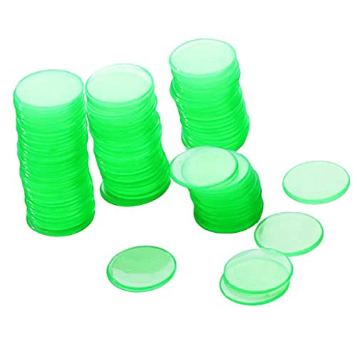 N-K PULABO Grüne lichtdurchlässige Plastikbingo-Chips/Pokerchip-Kinderspiel-Versorgungsmaterialien 1.9Cm 100Pcs vorzügliche Kunstfertigkeit neu freigegeben und populär Beliebt