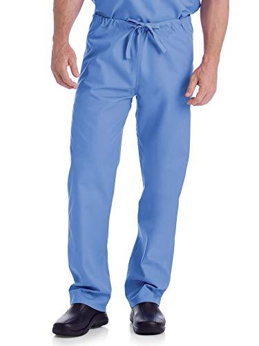 Landau Standard Comfort Stretch One-Pocket Reversible Drawstring Scrub Pant, CEIL Blue, Large
