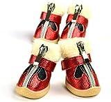 DFGER Sudaderas con Capucha Otoño Invierno Mascota Botas de Nieve Impermeable Resistente a Prueba de Perros Zapatos de Perro Peluche Chihuahua Mascotas Suministros (Color : Red, Size : 3)