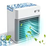 Portable Air Conditioner, Personal Air Cooler Fan, 2000 mAh Power Rechargeable Mini Air Conditioner, Evaporative Compac Air Cooler Fan, 3 Speeds 7 Colors Night Light for Home, Office and Room White