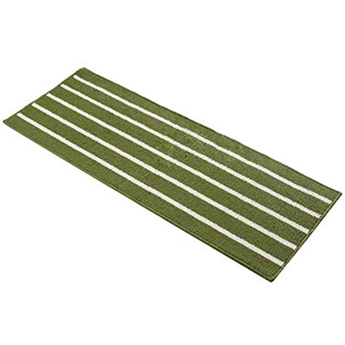 Alician Striped Bath Mat Non-Slip Water Absorption Area Rug for Living Room Kithcen Bathroom Green 43 × 110cm