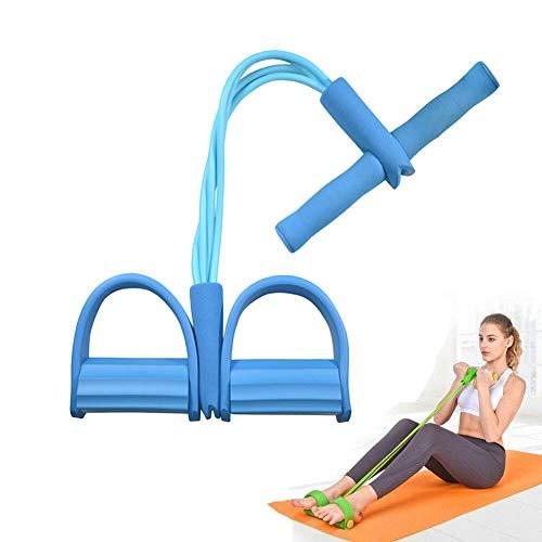 DZANS Multi-Function Tension Rope, Fascette Multifunzionali per Esercizi con Pedaliera per Esercizi Fitness con Corda per Tensione, Esercitatore per Gambe Multifunzione A 4 Tubi (Blu)