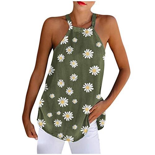 Débardeur Femme sans ManchesTank Top Haut Tops Tee-Shirt Mode Casual Top Blouse Daisy Imprimer Halter Frenulum O-Neck Vest (M,1Armée Verte)