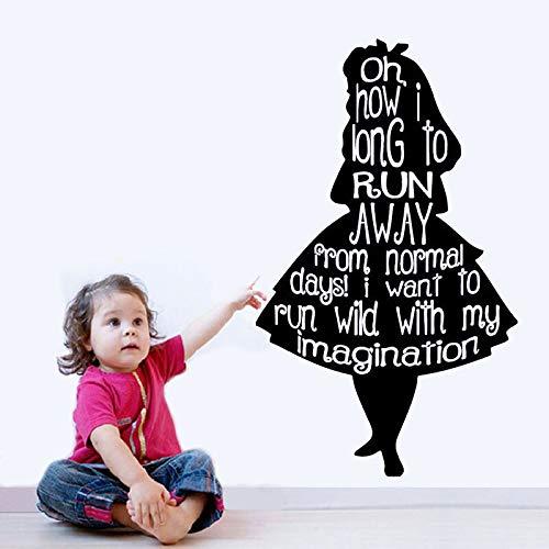 zqyjhkou Etiqueta de Vinilo de Pared Apliques Mural diseño de habitación patrón Arte Chica de Dibujos Animados Silueta Cuarto de niños decoración de la pared50.4X84CM