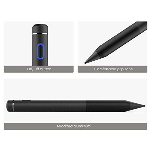MoKo Active Stylus Stift, hohe Präzision und Empfindlichkeit Punkt 1,5 mm kapazitiven Stylus, Kompatibel mit Touchscreen-Geräte Tablet/Smartphone iPhone X / 8/10 Plus, iPad/Air/Pro, Schwarz