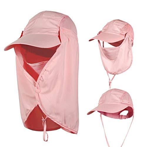 J.AKSO - Gorro de pesca para sombrero de sol exterior para hombre mujer, protección UV 360º, desmontable y funda de protección solar gratis, color rosa