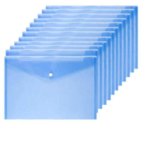 Wiekyze Poly Envelope 12 Pcs Document Envelopes with Snap Button Quality Clear Document Folder for A4 Size (Blue)