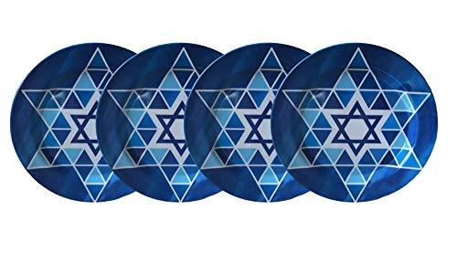 Hanukkah Melamine Plates - Set of 4 Dinner Plates 11 Star Of David Plate Set (Star of David Blue Graphics)