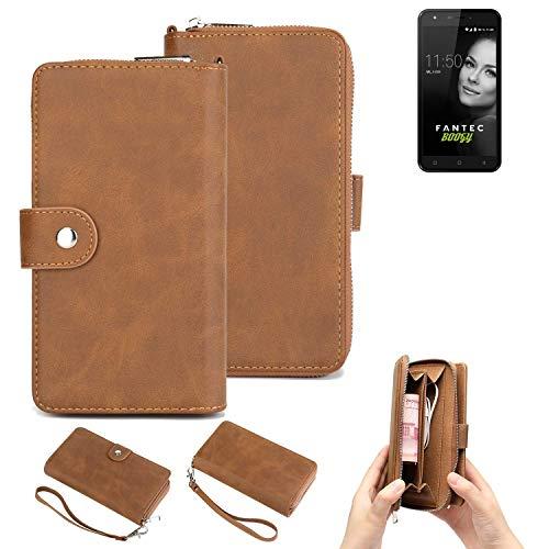 K-S-Trade® 2in1 Handyhülle Für FANTEC Boogy Schutzhülle und Portemonnee Schutzhülle Tasche Handytasche Case Etui Geldbörse Wallet Bookstyle Hülle Braun (1x)