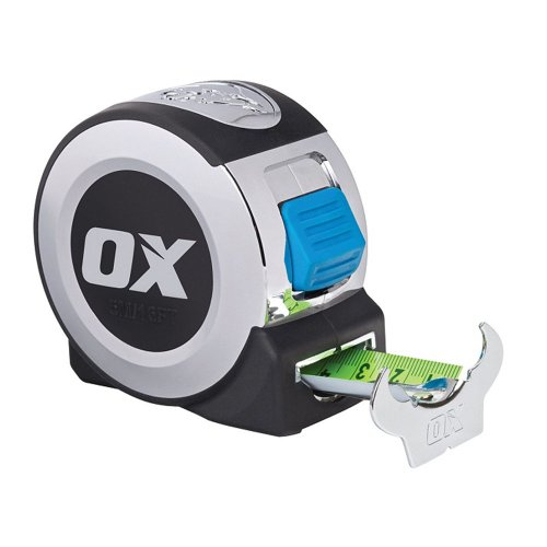 OX -Pro Measure Tape - With Thumb Lock - Blue - 8m