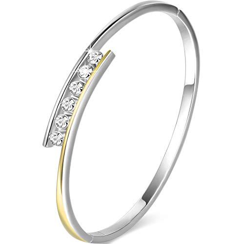 Angelady Klassisch Damen Armband Armreif Silber mit Kristallen von Swarovski| Elegant Armband Frauen-Geschenk für Frauen Damen Schmuck