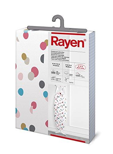 Rayen | Housse pour table à repasser Universelle | 3 épaisseurs : double épaisseur de mousse et tissu 100 % coton imprimé | Gamme Basic Plus, 130 x 47 cm | Blanc et imprimé confetti
