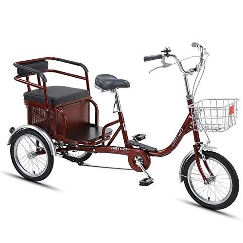 GTD-RISE Triciclo Adulto Tricycle Adult Crucero Bicicleta 16 Pulgadas 3 Ruedas Bicicleta para Adultos Tres Ruedas Bicicletas con Cesta de Compras picnics Ejercicio de Mujeres Mujeres