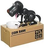 Puppy Dog Hungry Coin Bank Eating Munching Money Box Black