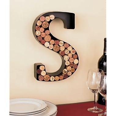 Monogram Letter S Wall Wine Cork Holder in Black Metal