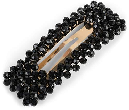 styleBREAKER Damen Haarspange rechteckig mit Kunststoff Perlen und Clipverschluss, Haarklammer, Spange 04027007, Farbe:Schwarz