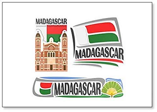 Kühlschrankmagnet Madagaskar-Flaggen mit Sehenswürdigkeiten & Symbolen