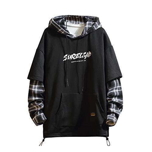 Japan Style Patchwork-Hoodies für Herren, Characters, Streetwear, Hoodie, Herren-Sweatshirt - Schwarz - XX-Large