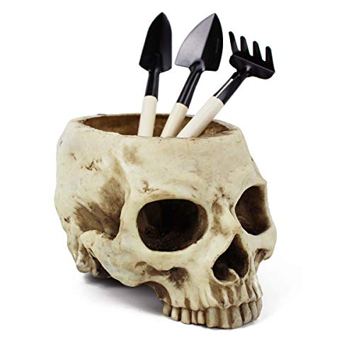 Gudessly Figurine Resin Human Skull Head Flower Pot Decoration Halloween Antique Ashtray Planter Bed Box Container Replica Home Bar Decor