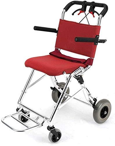 Cómoda silla de ruedas plegable de viaje ligero de alta densidad de espuma de pasamanos de escaleras mecánicas silla de ruedas for los ancianos, las personas con suministros