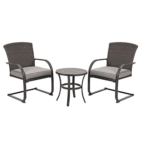 Grand patio 3 Piece Outdoor Bistro Set,Resin Wicker Patio Spring Chair and Metal Table, Furniture...