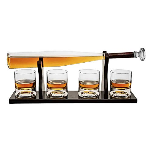 Rabbfay Whisky Licorera y 4 Béisbol Whisky Vasos, Sin Plomo Cristal Vidrio Vino Botella Accesorios por Whisky, Espíritu Licorera Colocar - Béisbol Murciélago Licorera