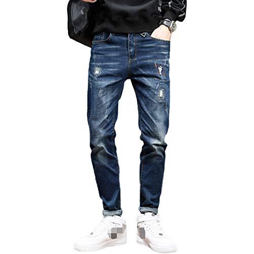 Pantalones Vaqueros Rasgados y Ajustados elásticos para Hombre Pantalones de Mezclilla Elegantes con puños y Botones y Tapeta con Cremallera 29